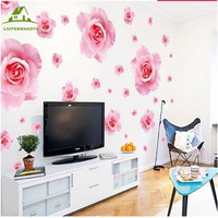 Big pink roses flowers vinyl wall stickers for home decor
