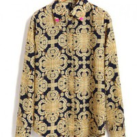 Point Skull Detail Collar Blouse with Vintage Print