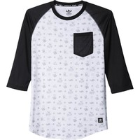 adidas Salty Plaza Baseball T-Shirt - 3/4-Sleeve - Men's White/Black,