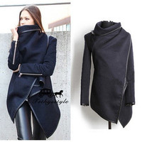 Women's autumn leather slim Outerwear Jacket Coat Windbreaker a13550