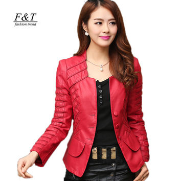 2019 New Fashion Spring Autumn Women Faux Soft Leather Jacket Pu Black Wine Red Zippers Pachwork Long Sleeve Motorcycle Coat