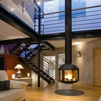 Central hanging fireplace AGORAFOCUS 850 by Focus | design Dominique Imbert