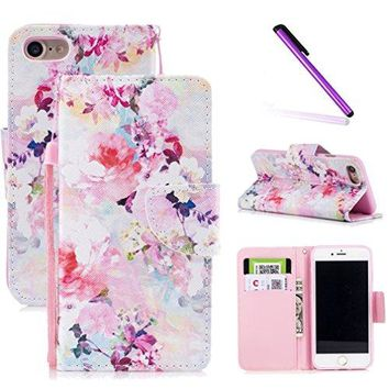 iPhone 8 Plus / 7 Plus Case,Fancy Print Floral Wallet Case PU Leather Protective Case
