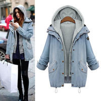 Womens Light Blue Denim Jacket Hooded with Vest Two Piece