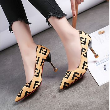 Slim heel color matching fashion high heels