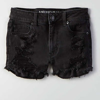 AEO Denim X Hi-Rise Shortie, True Black