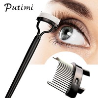 PUTIMI 1pcs Portable Eyelashes Brush Stainless Steel Brush Head Eyelashes Extension Comb Eyebrow Brush Curler Lashes Makeup Tool