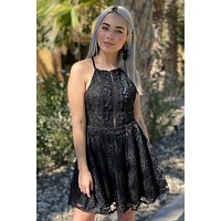City Of Love Black Embroidered Lace Halter Skater Dress