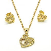 Gold Layered Earring and Pendant Adult Set, Heart Design, with Micro Pave, Golden Tone