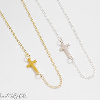 Tiny Cross Necklace in Sterling Silver or Gold Vermeil, Faith, Religion, Tiny Cross Charm Choker Necklace