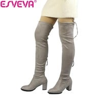 ESVEVA 2018 Over The Knee Boots Winter Round Toe Warm Women Boots Lady Short Plush + Stretch Fabric Fashion Boots Big Size 34-43
