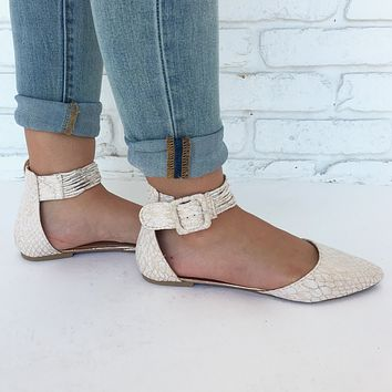 Remy Snake Print Flats in Rose Gold