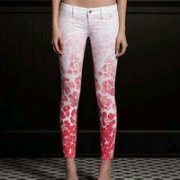 "$79 NWT ~HOLLISTER BY ABERCROMBIE~ PINK FLORAL ""SUPER SKINNY"" ANKLE JEANS 1 3"