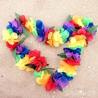 Rainbow Luau Flower Lei