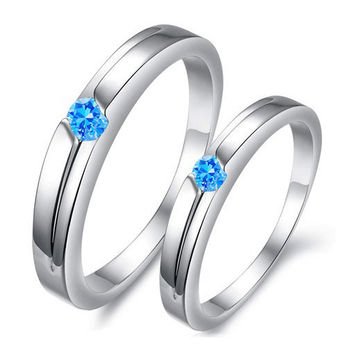 Gullei Trustmart : Blue diamond matching for him couple rings gift [GTMCR0058] - $14.00-Couple Gifts, Cool USB Drives, Stylish iPad/iPod/iPhone Cases & Home Decor Ideas