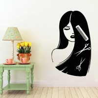 Wall Decor Vinyl Decal Sticker Words Woman Model Girl Hair Salon Comb Scissors Hair Stylist Beauty Salon Bedroom Living Room Home Interior Design Kg909
