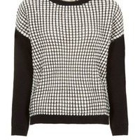 New Look Mobile | Monochrome Contrast Leather-Look Sleeve Jumper