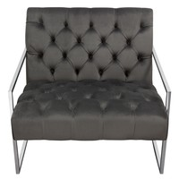 Luxe Accent Chair in Dusk Grey Tufted Velvet Fabric with Polished Stainless Steel Frame