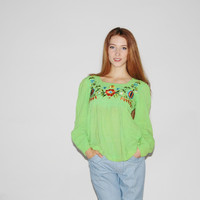 1960s Vintage Neon Green Indian Cotton Embroidered Floral Blouse