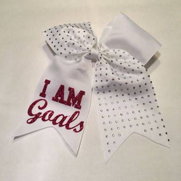 I Am Goals Rhinestone Softball Hair Bow