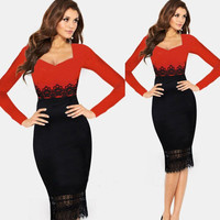 Black and Red Long Sleeve with Sweetheart Neckline and Crochet Patchwork Bodycon Midi Dress