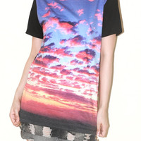 Sunset Sky Clouds Nature Shirt Black Art Photo Transfer Short Sleeve Tee Indie Punk Rock T-Shirt Size M