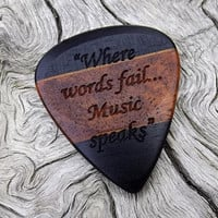 Handmade Multi-Wood Premium Guitar Pick - Laser Engraved - Actual Pick Shown - No Stock Photos