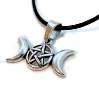 Triple Moon Goddess Witchy Gothic Wicca Occult Customizable Choker Necklace Earrings