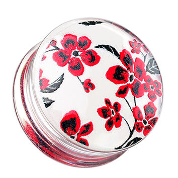 Red Cherry Blossom Clear UV Double Flared Ear Gauge Plug