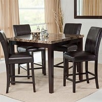 Counter Height 5-Piece Dining Set with Faux Marble Top Table and 4 Faux Leather Chairs