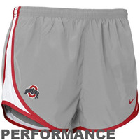Nike Ohio State Buckeyes Ladies Gray Dri-FIT Tempo Performance Training Shorts