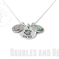 Hand Stamped MOM Necklace - Inset Birthstone