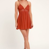 Good Grace Rust Orange Lace Backless Dress