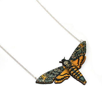 Death's Head Moth Necklace, Wood Pendant, Illustration Jewelry, Butterfly Necklace, Woodland, Animal Necklace