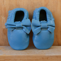 Baby Bow Leather Moccasins Turquoise
