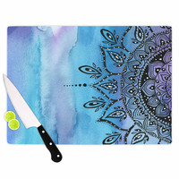"Li Zamperini ""Blue Mandala"" Aqua Black Cutting Board"