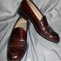 Vintage Women's Brown FAUX Alligator Print Enzo Angiolini Loafers - 7 1/2 N