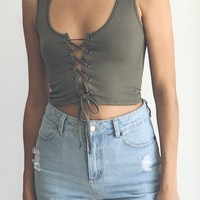Gemini Lace Up Tank - Olive