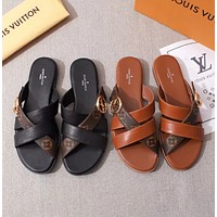 LV Louis Vuitton Flat-bottomed cross broadband sandals and slippers