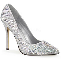 "Amuse 20RS Silver Satin Single Sole Pump Cover In Rhinestones - 5"" Heels"