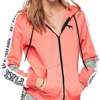 Victoria's Secret Pink Fashion Women Hot Letter Stitching Color Zipper Hoodie Long Sleeved Sweater Coat Pink I