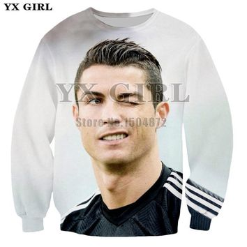 YX Girl 2018 Fashion Mens Sweatshirt 3d Print Cristiano Ronaldo Sweatshirts Long Sleeve Pullover Men Women Autumn Tracksuit