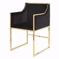 Anabelle Black Velvet & Brass Chair