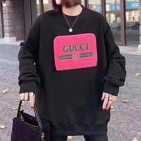 GUCCI  New letter stripe letter print couple long sleeve sweater Black