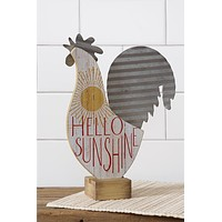 Hello Sunshine Standing Rooster Wood and Metal Figure