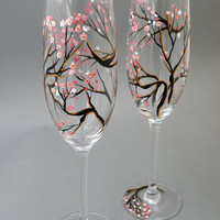 Hand painted wedding glasses personalized flutes Sakura tree