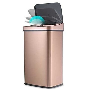 Gold 13-Gallon Stainless Steel Kitchen Trash Can with Motion Sensor Lid