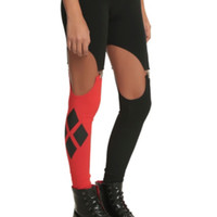 DC Comics Harleen Collection Red And Black Garter Leggings