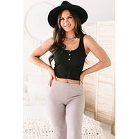 Hideaway Beach Ribbed Button-Front Crop Tank (Black)