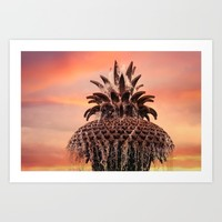 Pineapple Fountain Pink Art Print by Legends Of Darkness Photography